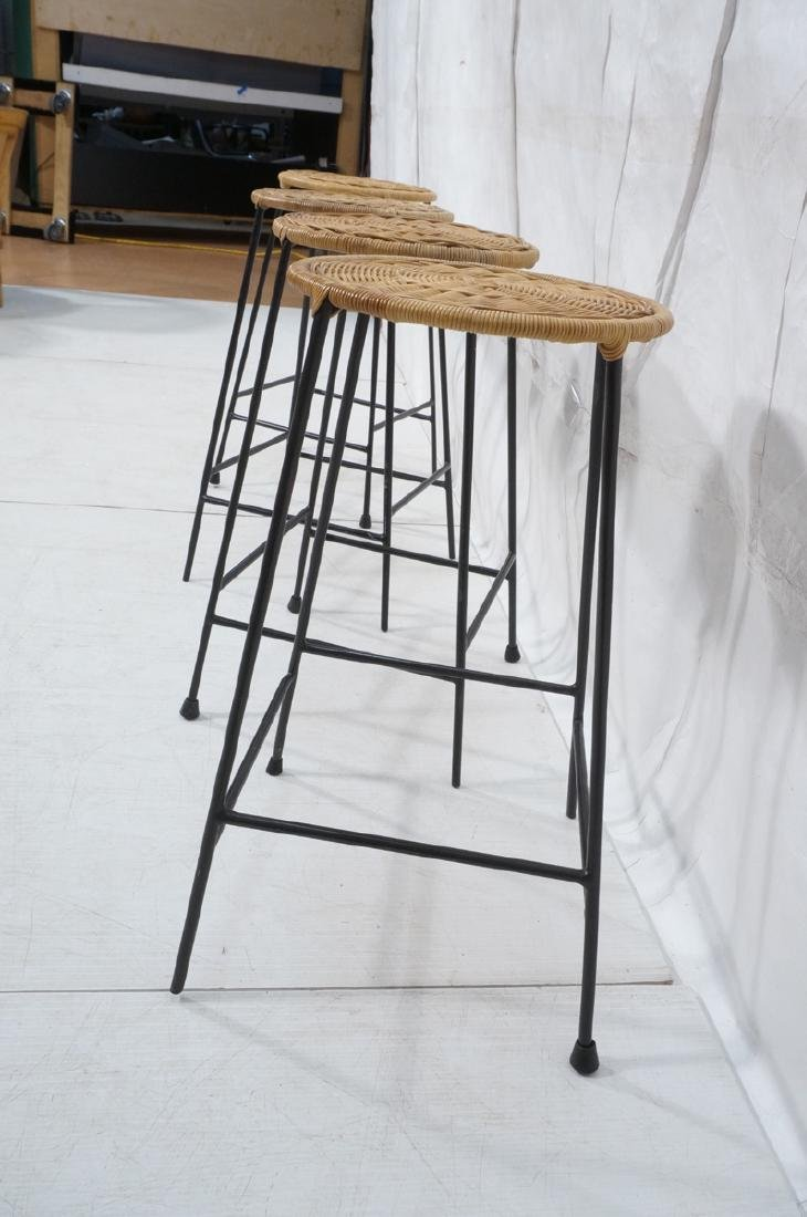 4 Modernist UMANOFF Style Woven Rattan Bar Stools - 3