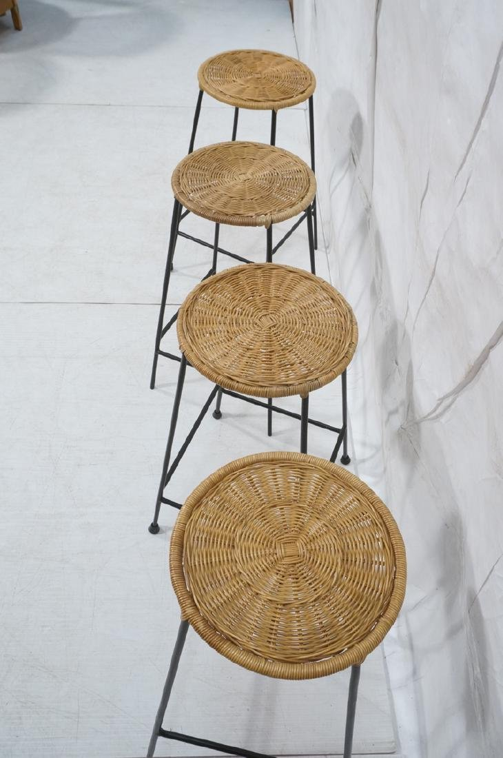 4 Modernist UMANOFF Style Woven Rattan Bar Stools - 4