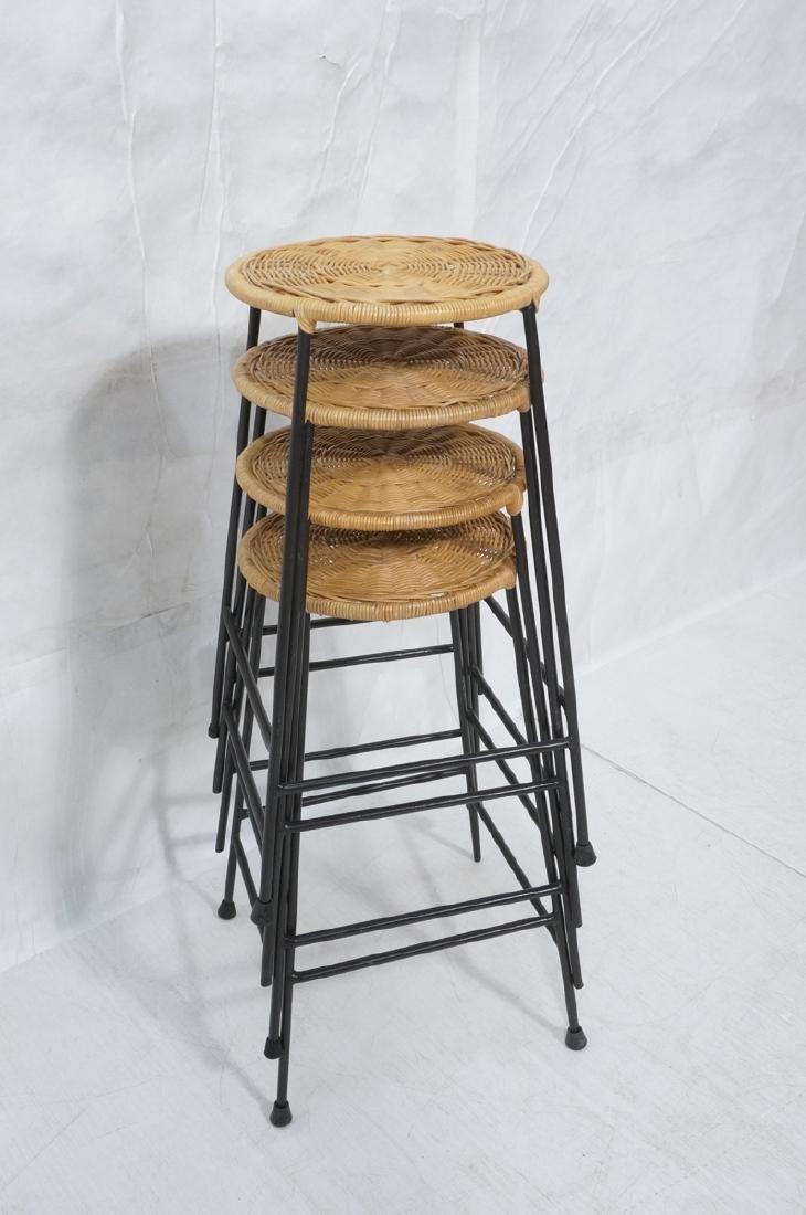 4 Modernist UMANOFF Style Woven Rattan Bar Stools - 8
