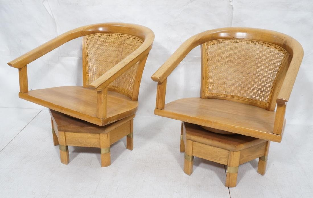 Pr Asian Style Swivel Lounge Chairs. Barrel back