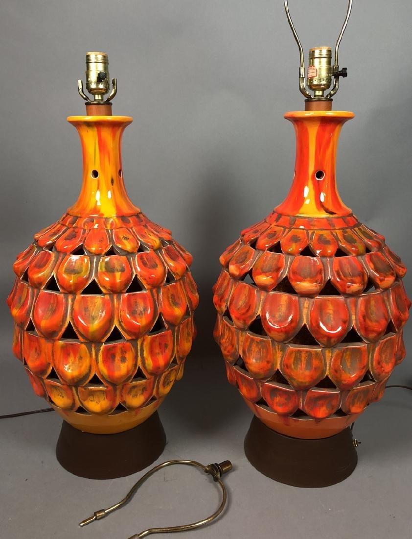 Pr Large Modern Orange Glazed Ceramic Table Lamps