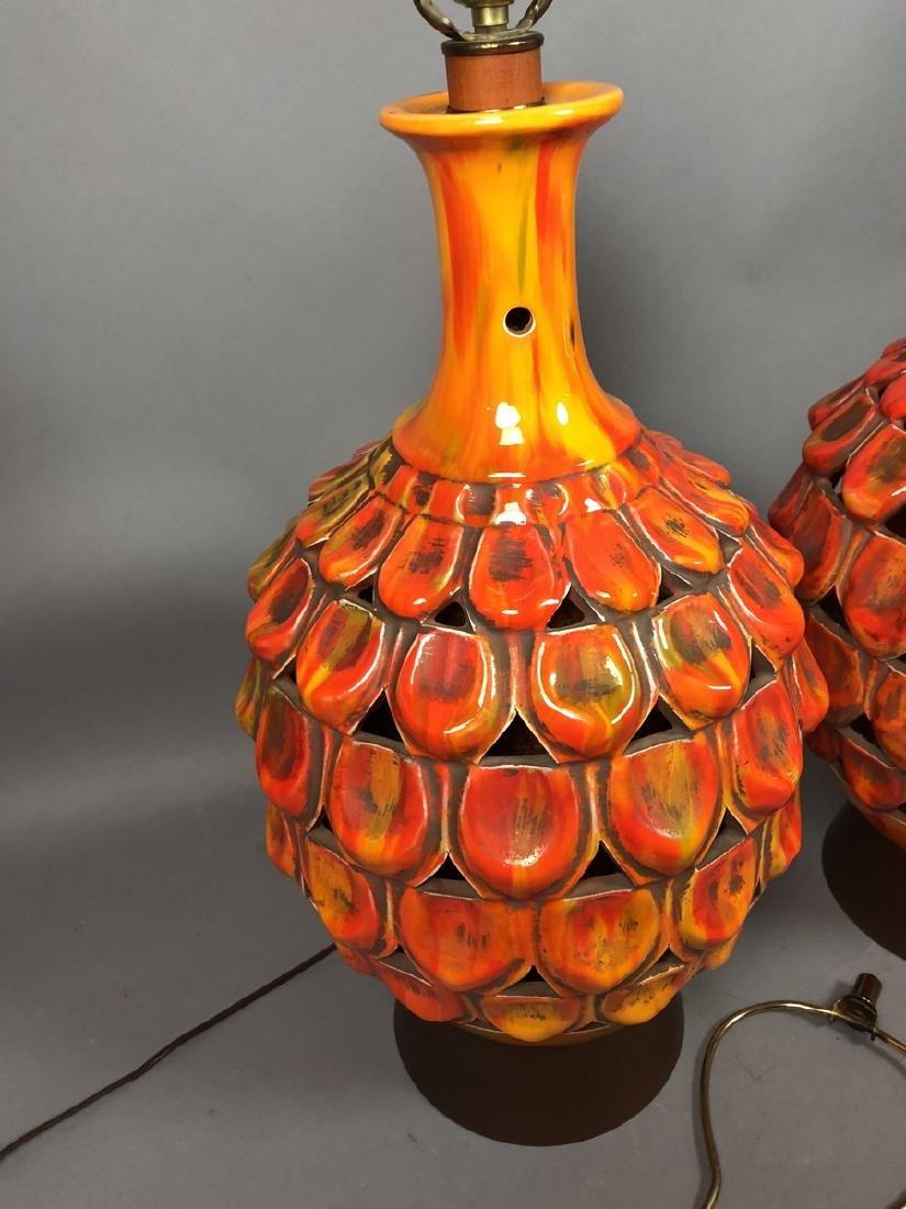 Pr Large Modern Orange Glazed Ceramic Table Lamps - 2
