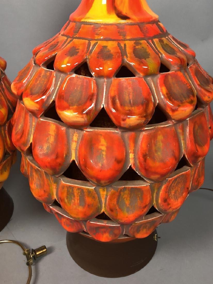 Pr Large Modern Orange Glazed Ceramic Table Lamps - 3