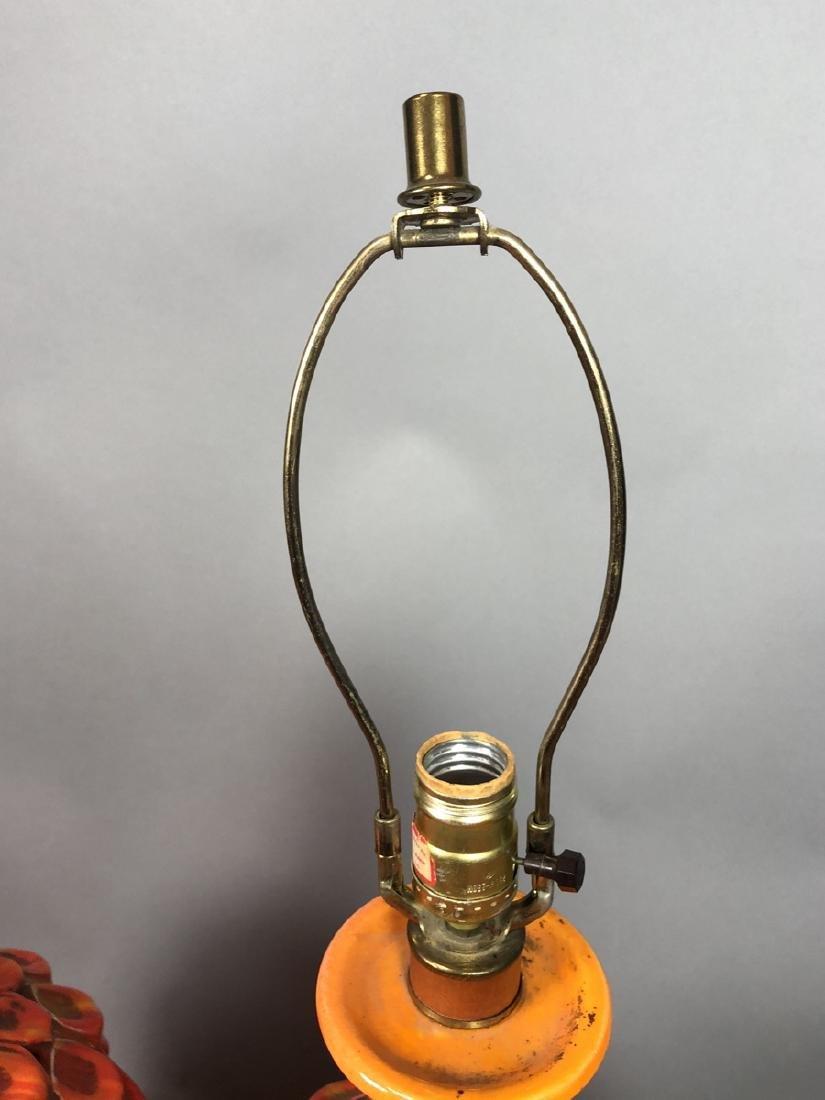 Pr Large Modern Orange Glazed Ceramic Table Lamps - 7