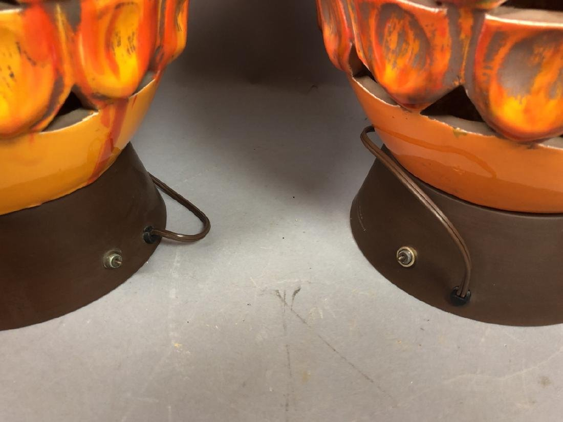 Pr Large Modern Orange Glazed Ceramic Table Lamps - 8