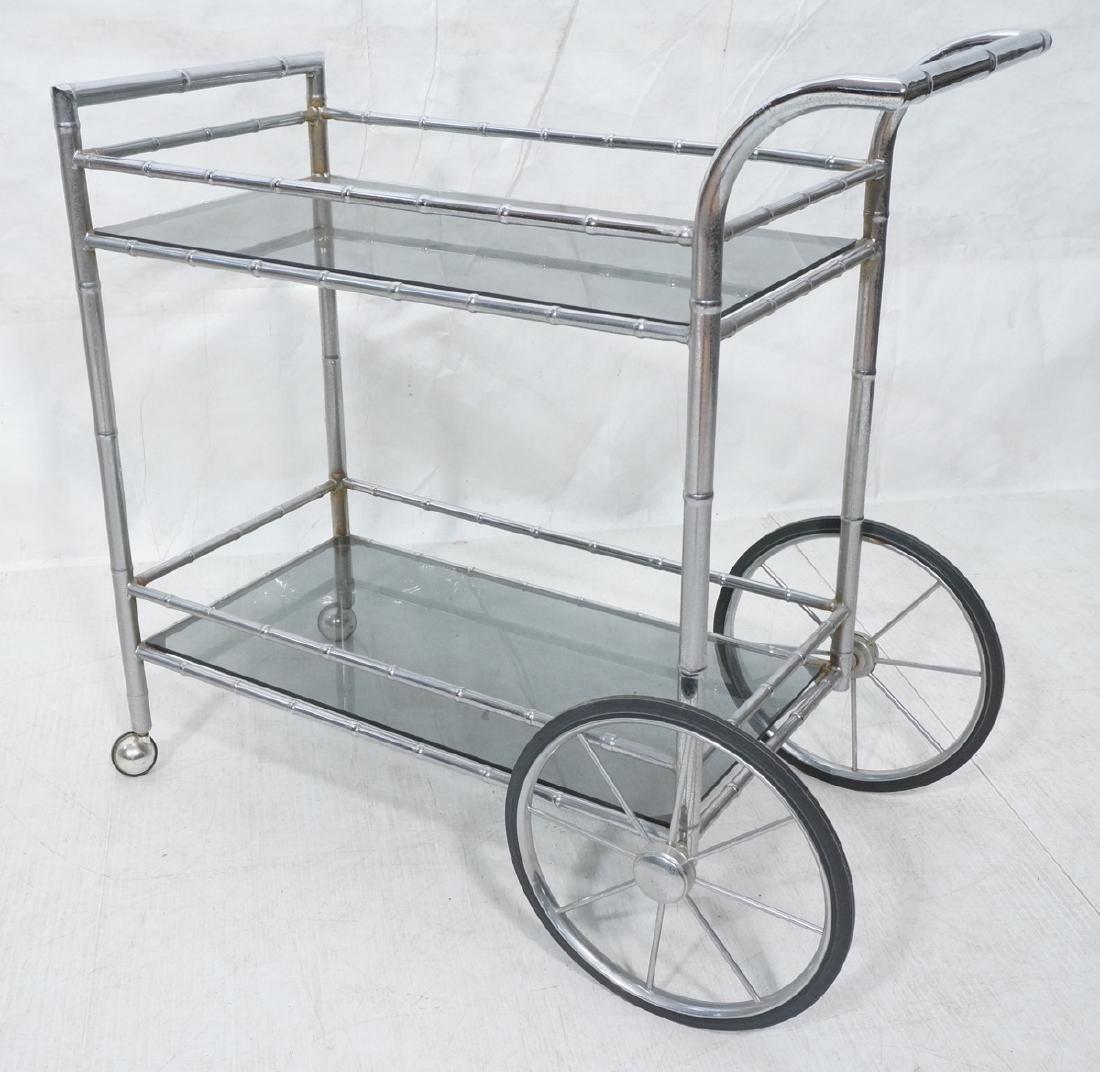 Modernist Chrome Bamboo Rolling Bar Cart. 2 smoke