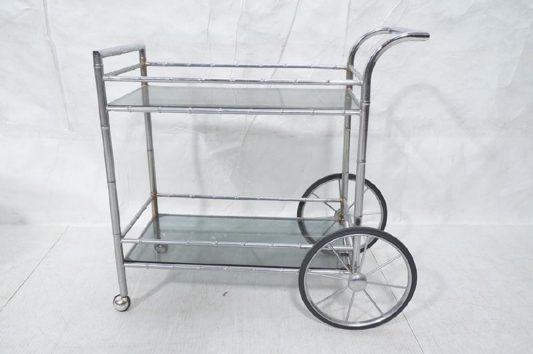 Modernist Chrome Bamboo Rolling Bar Cart. 2 smoke - 2