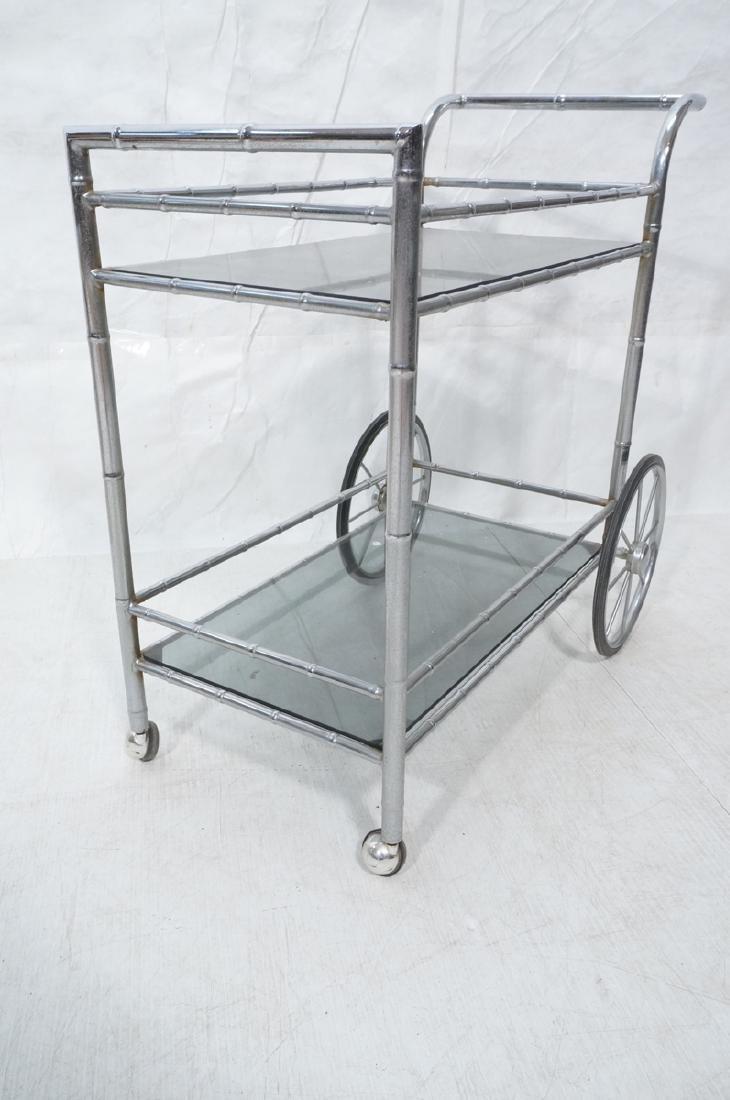 Modernist Chrome Bamboo Rolling Bar Cart. 2 smoke - 6