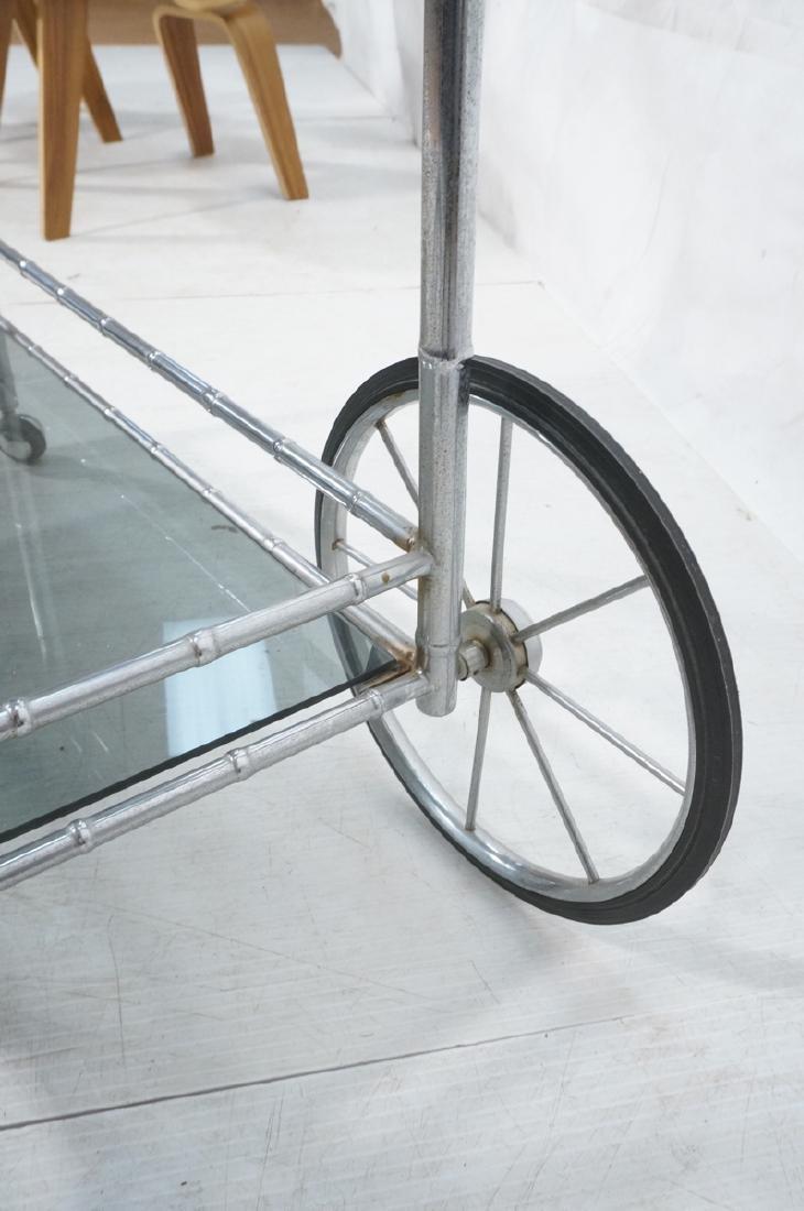 Modernist Chrome Bamboo Rolling Bar Cart. 2 smoke - 8