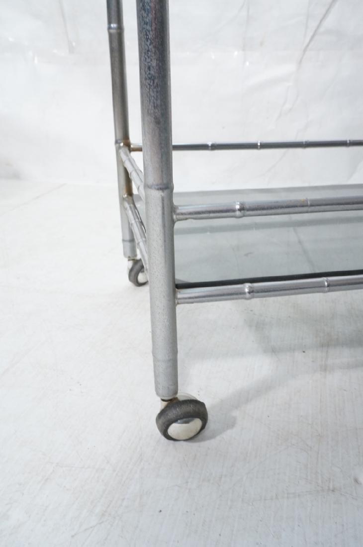Modernist Chrome Bamboo Rolling Bar Cart. 2 smoke - 9