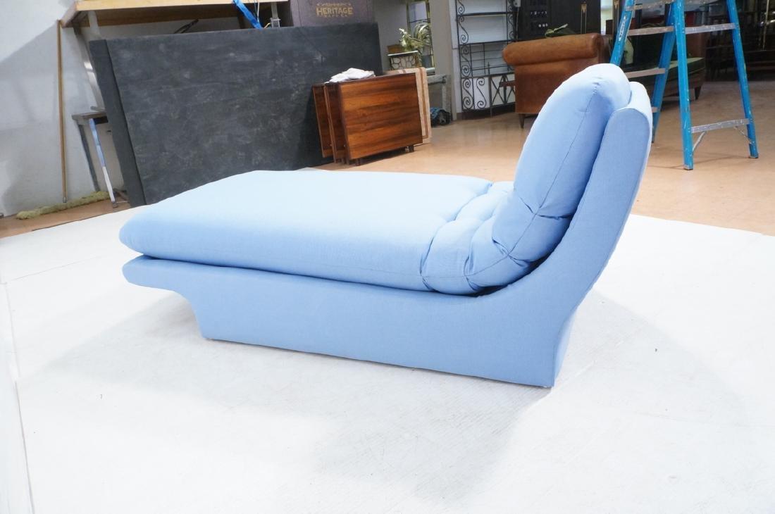 Light Blue Fabric Modern Chaise Lounge. Sleigh fo - 4