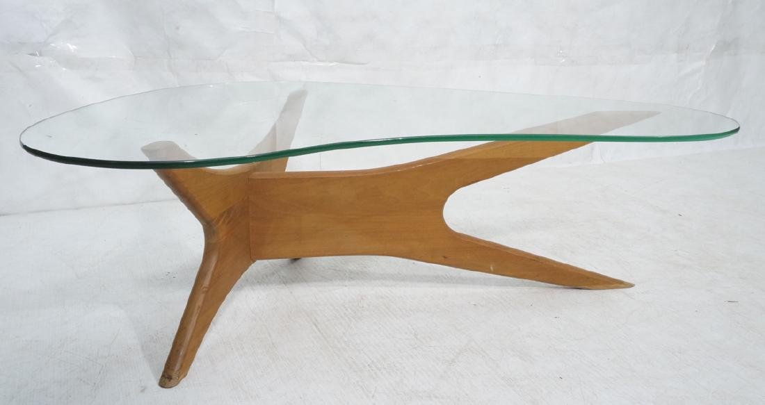 ADRIAN PEARSALL Walnut Glass Cocktail Table. Mode