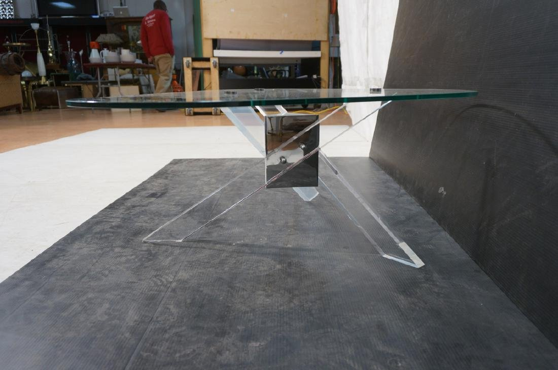 Hollis Jones style Lucite Base Cocktail Table. Th - 5