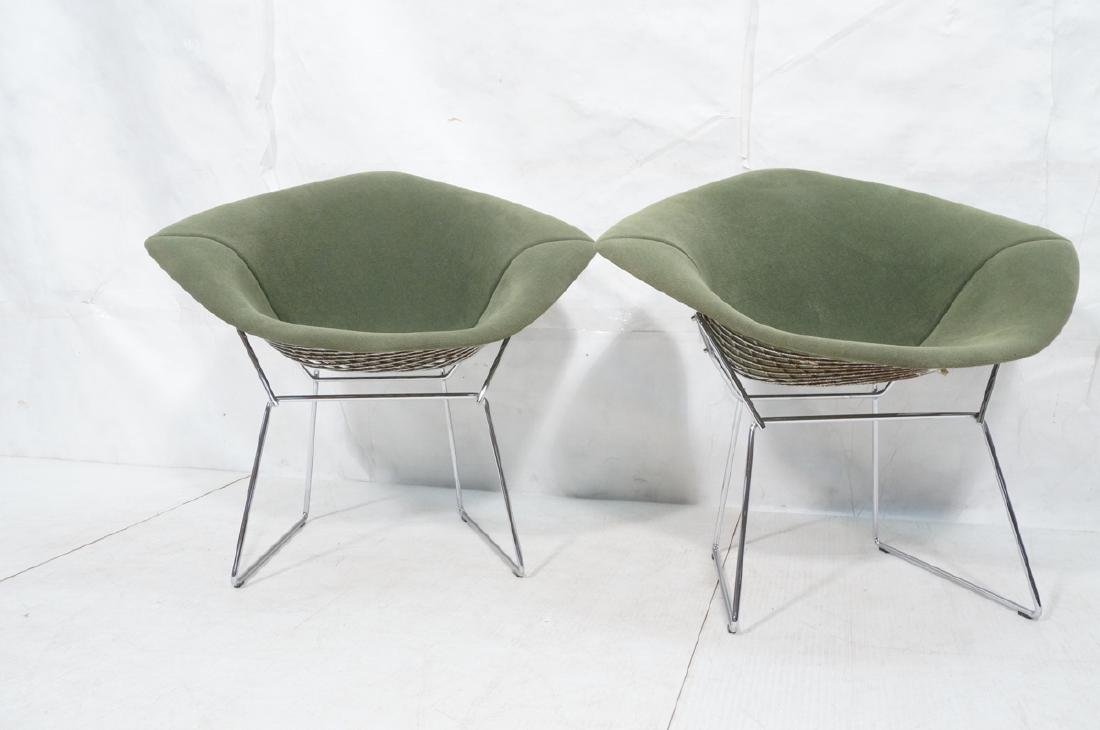Pr HARRY BERTOIA for KNOLL Chrome Diamond Chairs. - 2