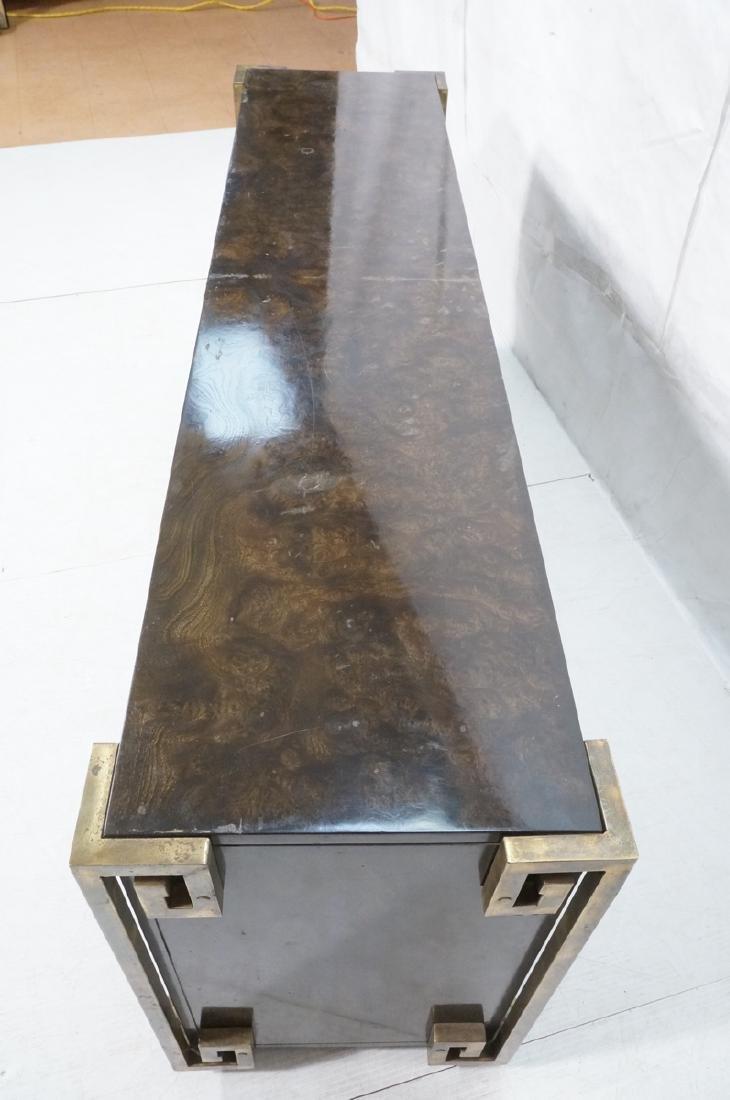 MASTERCRAFT Dark Burl Wood & Brass Credenza. Asia - 4