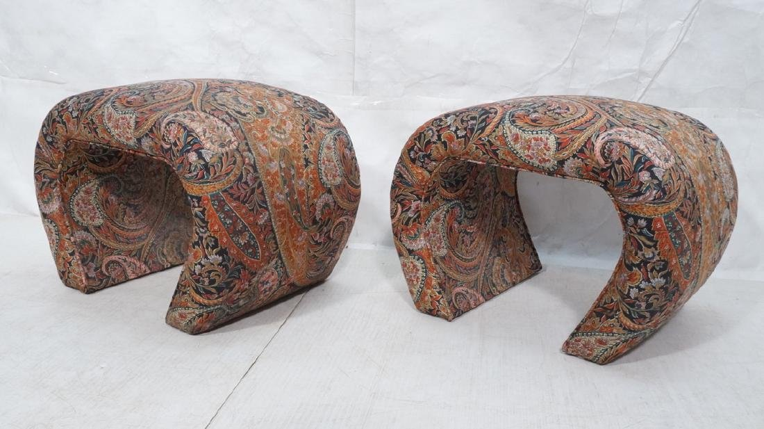 Pr Paisley Upholstered Stools Benches. Upside dow