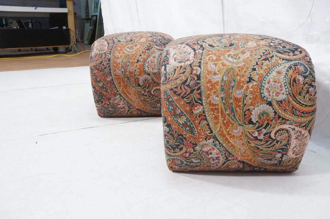 Pr Paisley Upholstered Stools Benches. Upside dow - 3