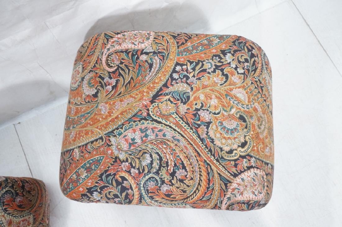 Pr Paisley Upholstered Stools Benches. Upside dow - 4