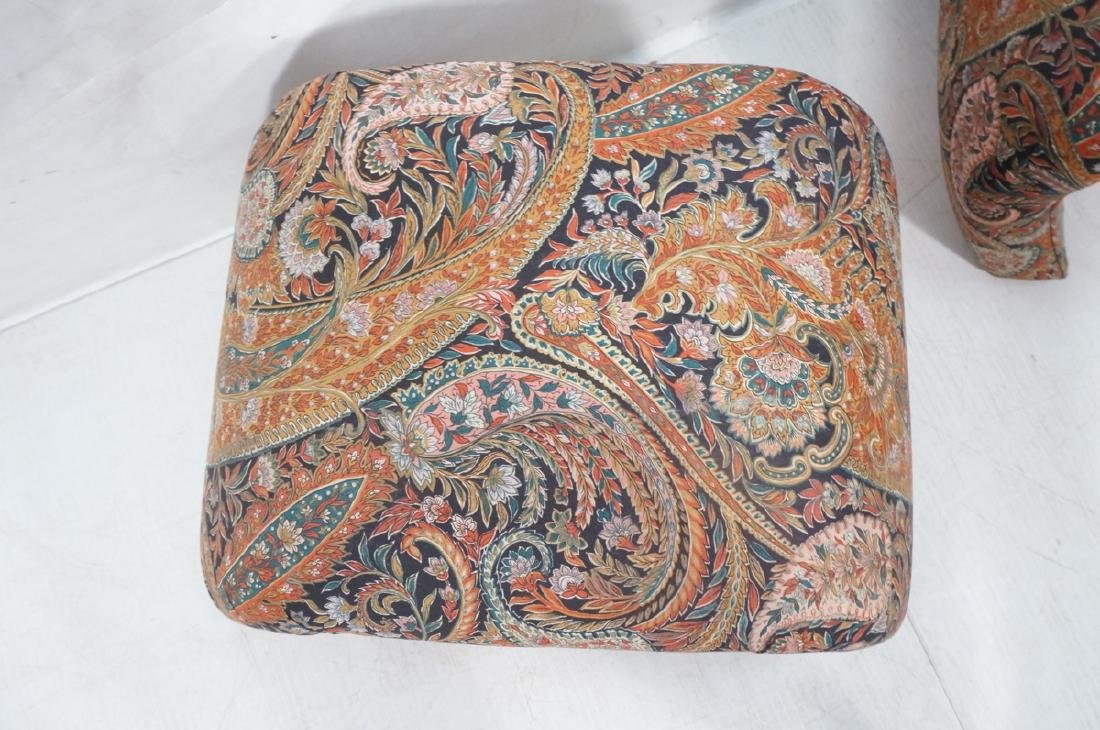 Pr Paisley Upholstered Stools Benches. Upside dow - 5
