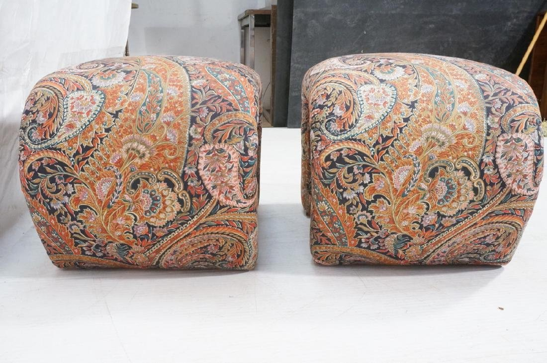 Pr Paisley Upholstered Stools Benches. Upside dow - 6