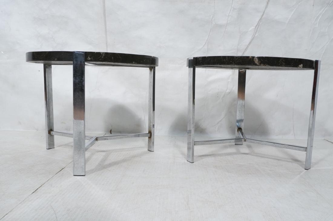 "Pr Black Composite Chrome Frame End Tables. 1.25"" - 2"