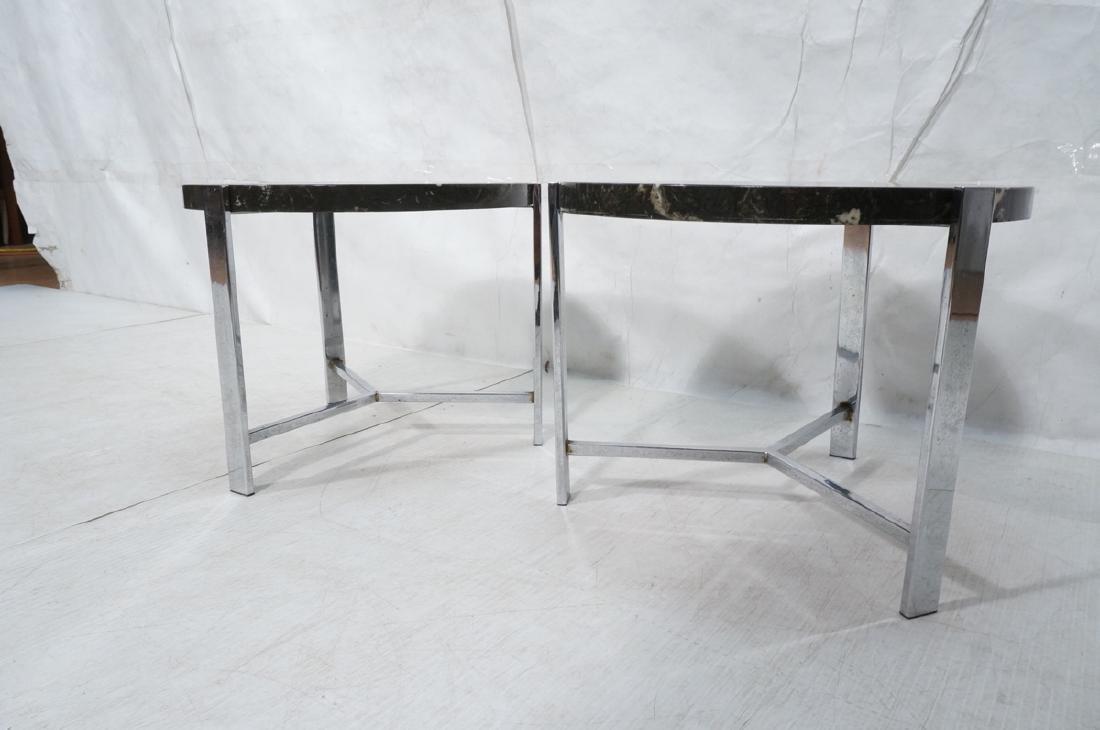 "Pr Black Composite Chrome Frame End Tables. 1.25"" - 3"