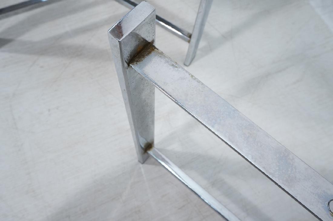 "Pr Black Composite Chrome Frame End Tables. 1.25"" - 8"