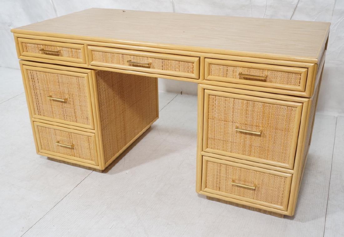 Bamboo Woven Rattan Modern Desk. Wood grain lamin
