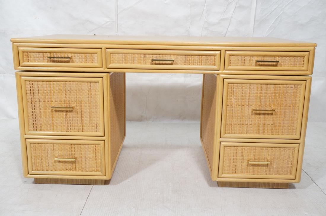 Bamboo Woven Rattan Modern Desk. Wood grain lamin - 2
