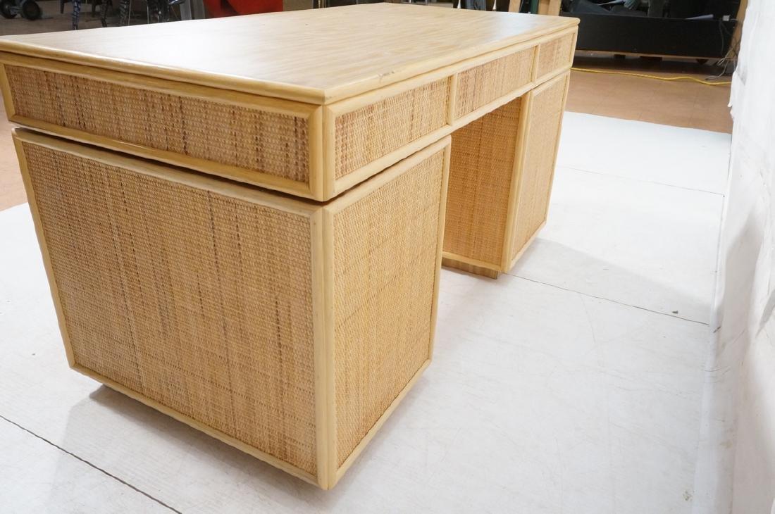 Bamboo Woven Rattan Modern Desk. Wood grain lamin - 6