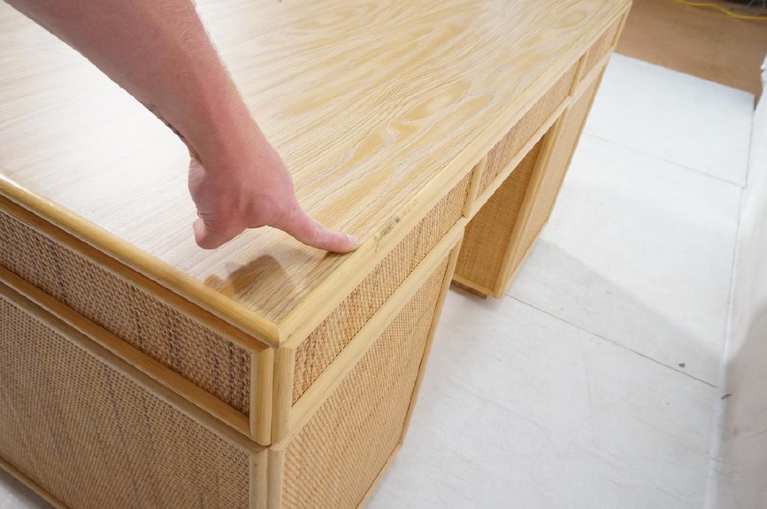 Bamboo Woven Rattan Modern Desk. Wood grain lamin - 7