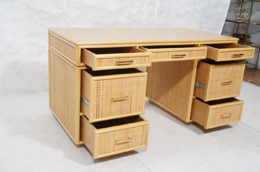 Bamboo Woven Rattan Modern Desk. Wood grain lamin - 8