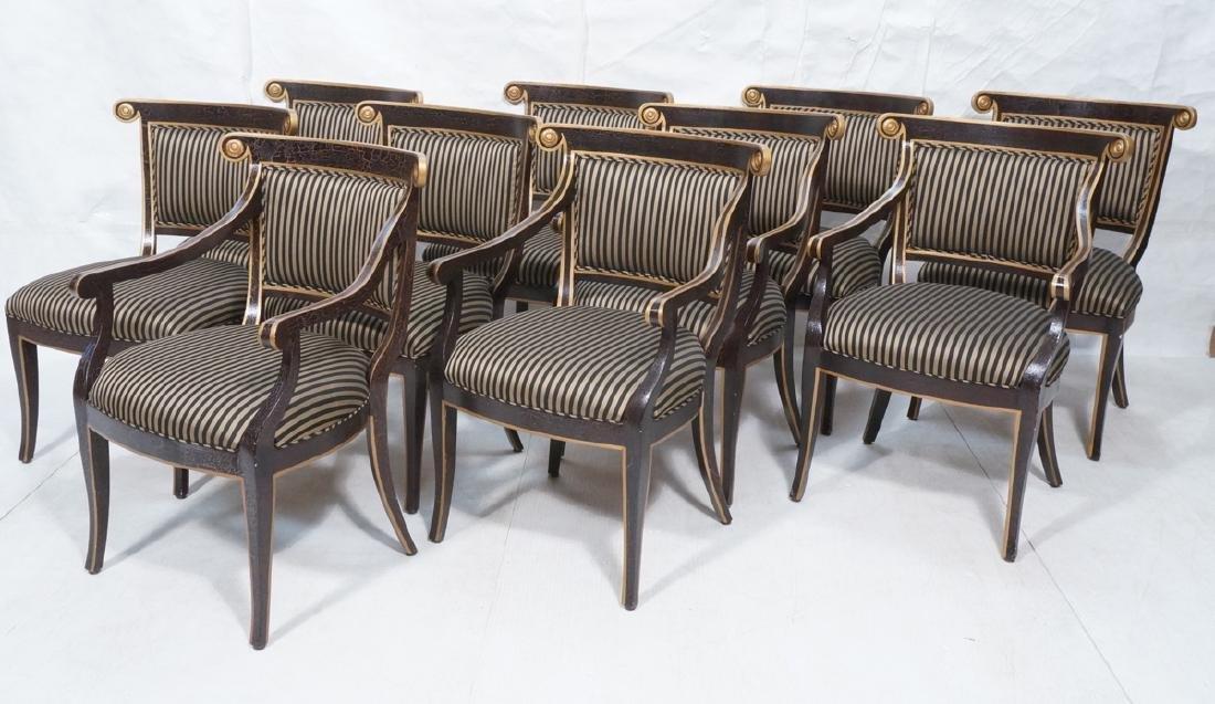 10 KLISMOS Style Decorator Dining Chairs. Distres