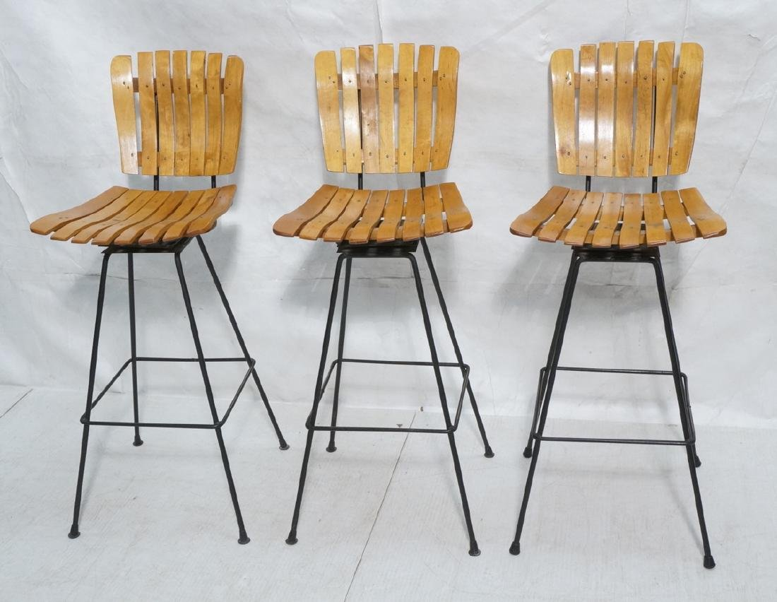 3 ARTHUR UMANOFF Style Wood Slat Bar Stools. Slat
