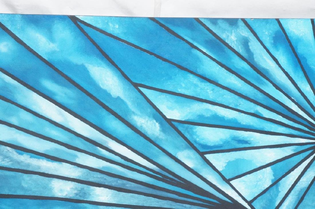 Lg Modernist Blue Oil Painting Abstract Fan Desig - 3