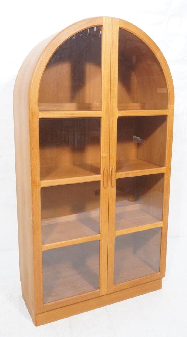 Danish Modern Teak Arched Top China Display Cabin