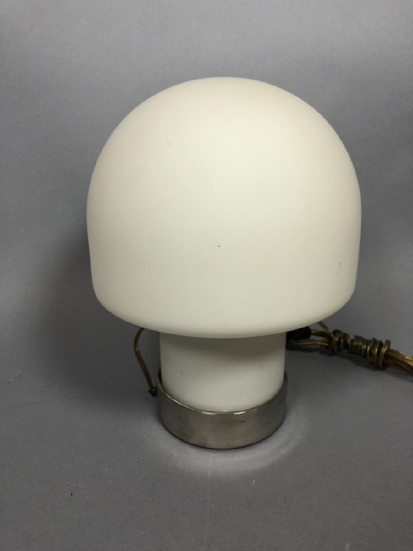 LAUREL Frosted Milk Glass Mushroom Table Lamp. Wi - 3
