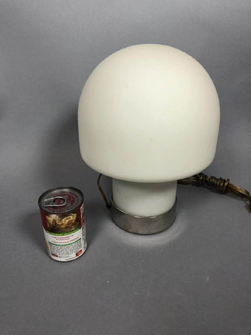 LAUREL Frosted Milk Glass Mushroom Table Lamp. Wi - 5