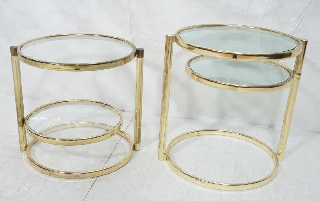2 Decorator Brass Side Tables. Brass tube legs su