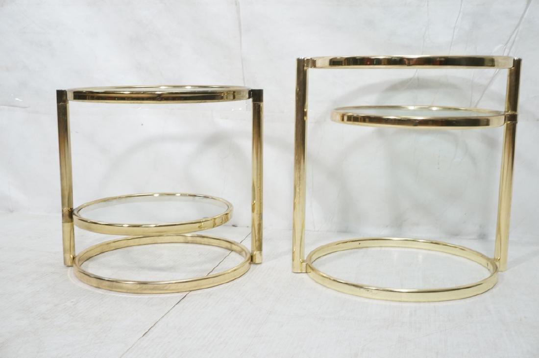 2 Decorator Brass Side Tables. Brass tube legs su - 2