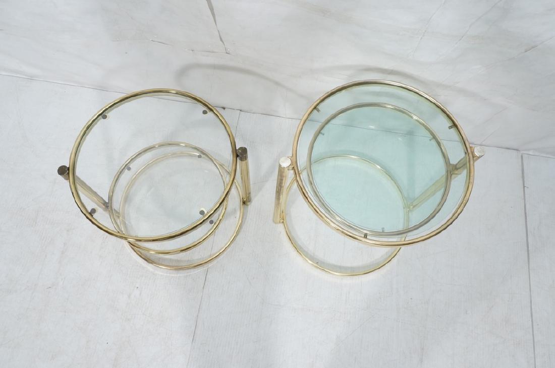 2 Decorator Brass Side Tables. Brass tube legs su - 3