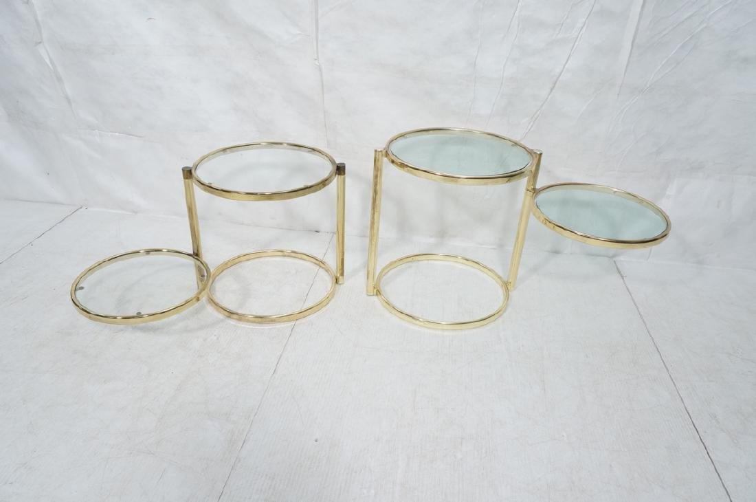 2 Decorator Brass Side Tables. Brass tube legs su - 4