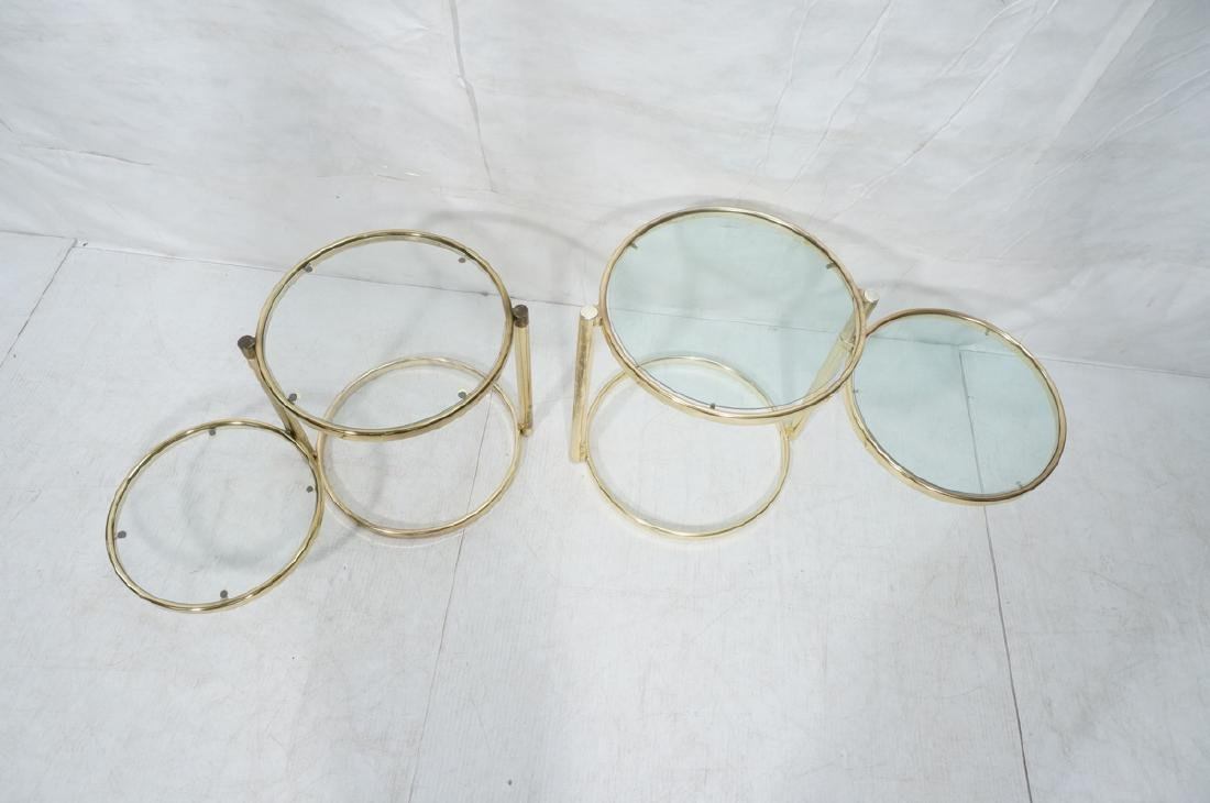 2 Decorator Brass Side Tables. Brass tube legs su - 5