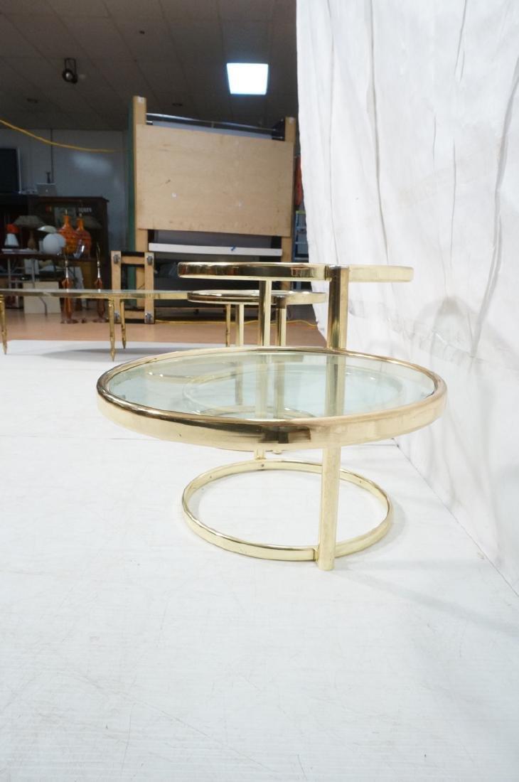 2 Decorator Brass Side Tables. Brass tube legs su - 7