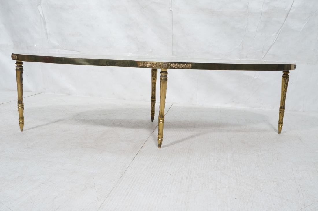 Decorator Oval Brass Glass Cocktail Table. Gold f - 3