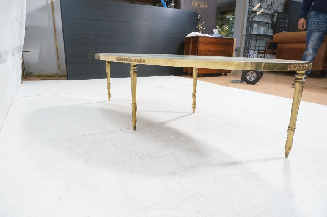 Decorator Oval Brass Glass Cocktail Table. Gold f - 5