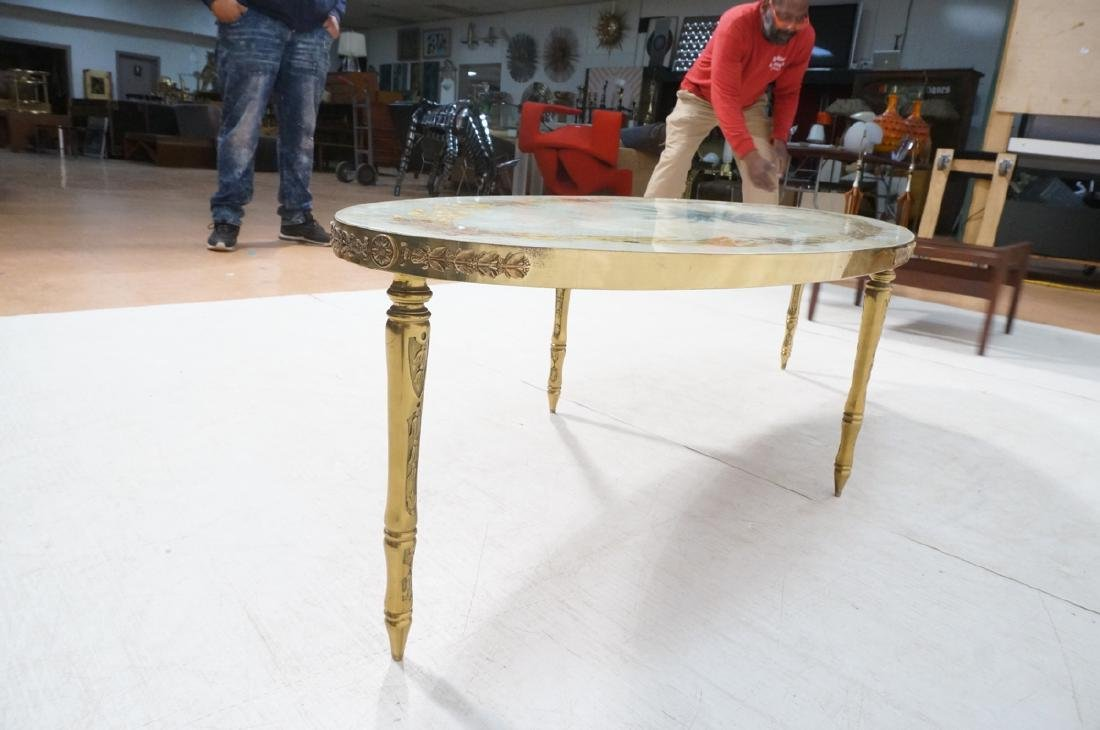 Decorator Oval Brass Glass Cocktail Table. Gold f - 6