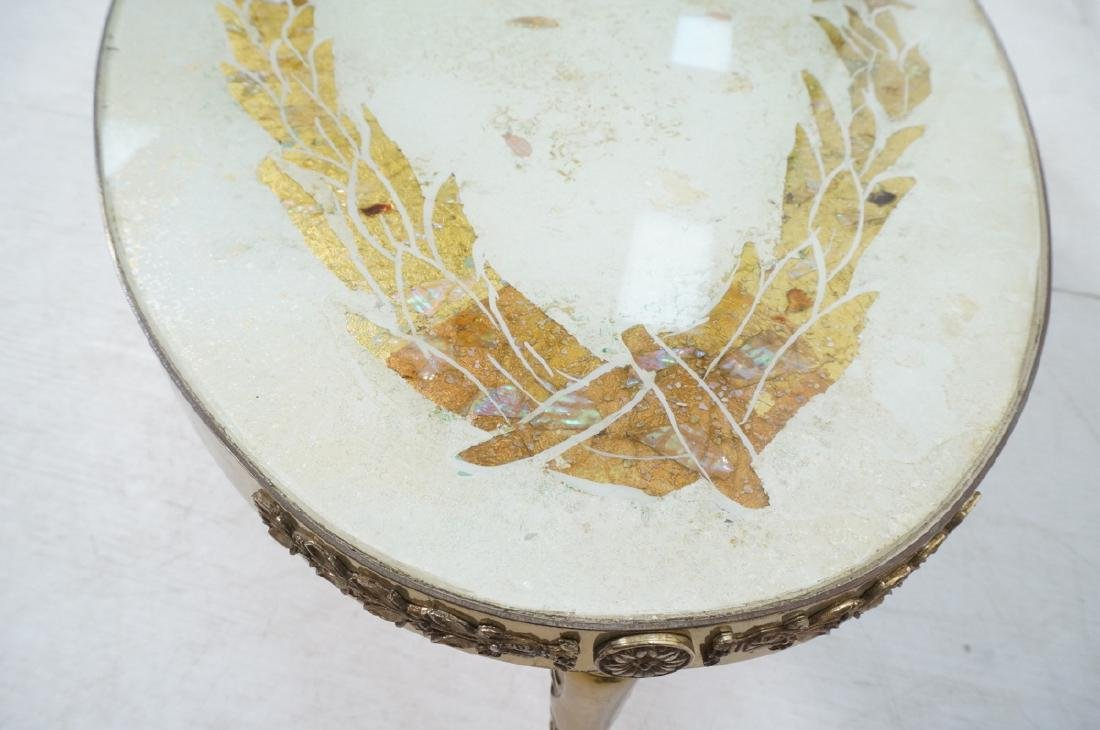 Decorator Oval Brass Glass Cocktail Table. Gold f - 7