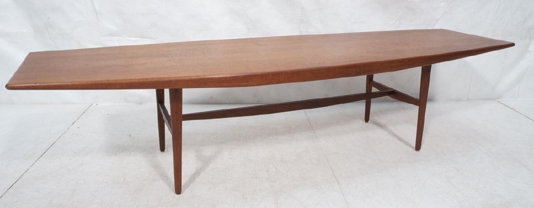 Danish Modern Teak Bowed Sides Coffee Table. Tape