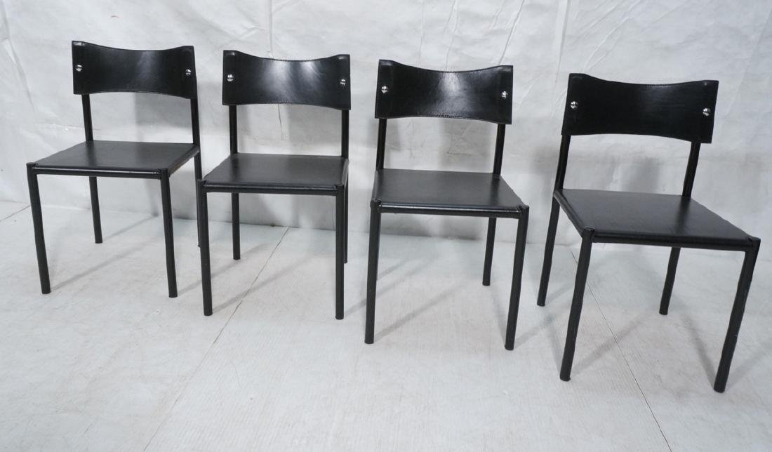 4 Black Leather Dining Chairs. Black leather seat